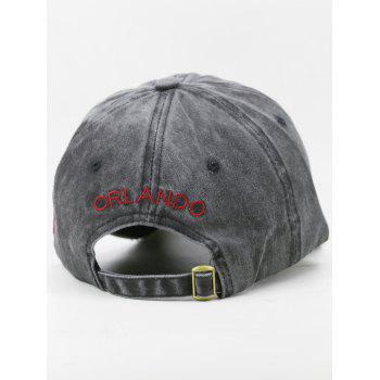 Outdoor Letter Embroidery Distressed Sport Hat - BLACK