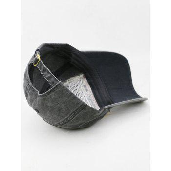 Letter Embroidery Washed Dyed Sunscreen Hat - BLACK