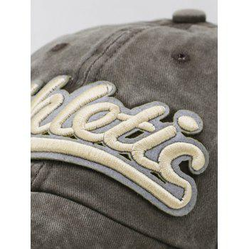 Letter Embroidered Washed Dyed Sport Hat - COFFEE