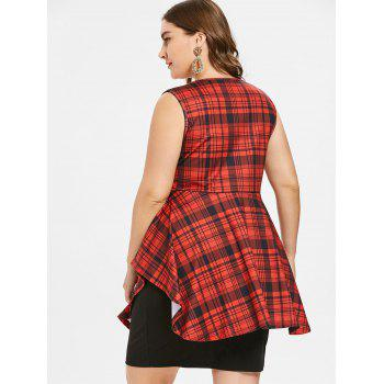 Plus Size Knee Length Sleeveless Plaid Dress - RED WINE L