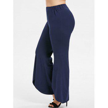 Plus Size High Waisted Bell Bottom Pants - MIDNIGHT BLUE 2X