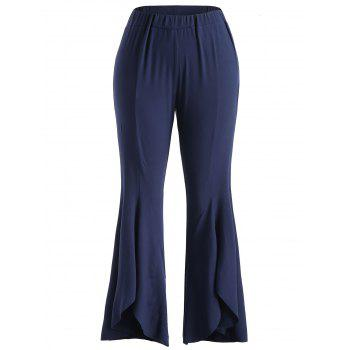 Plus Size High Waisted Bell Bottom Pants - MIDNIGHT BLUE 3X