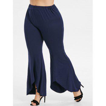 Plus Size High Waisted Bell Bottom Pants - MIDNIGHT BLUE 1X
