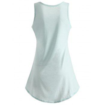 Printed Asymmetrical Tank Top - LIGHT CYAN S