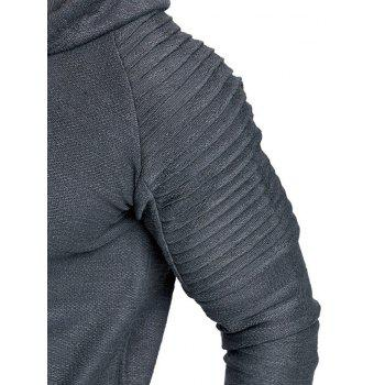 Pullover Solid Color Pleated Hoodie - GRAY 2XL