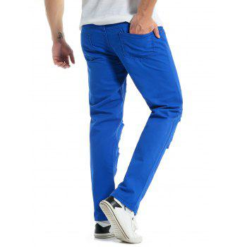 Solid Color Zipper Fly Destroyed Jeans - BLUEBERRY BLUE XL