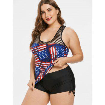 American Flag Fishnet Plus Size Tankini Set - COBALT BLUE 3X