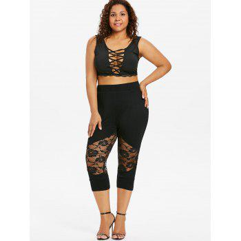 Plus Size Lace Panel Capri Leggings - BLACK L