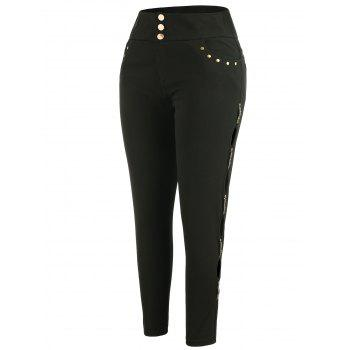 Plus Size High Waisted Pants - BLACK 2X