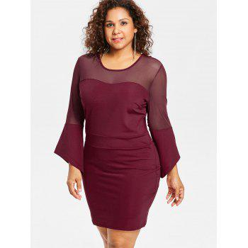 Plus Size Mesh Panel Bodycon Dress - RED WINE 3X