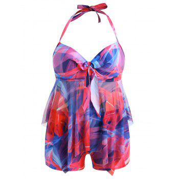 Plus Size Moulded Halter Tankini Set - multicolor 4X