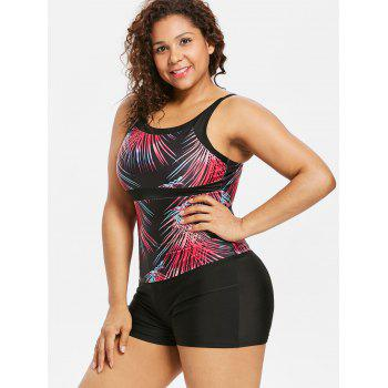 Plus Size Ombre Hawaiian Tankini Swimwear - multicolor L