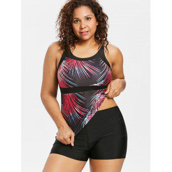 Plus Size Ombre Hawaiian Tankini Swimwear - multicolor 1X