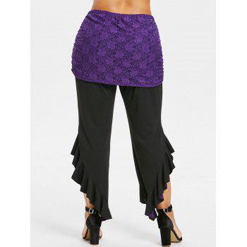 Asymmetric Plus Size Detachable Lace Skirt Leggings - PURPLE IRIS 2X