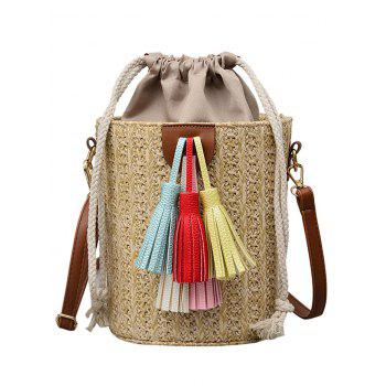 Tassels Straw Casual Outdoor Vacation Tote Bag - LIGHT KHAKI
