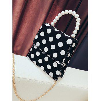 Polka Dot Retro Flap Faux Pearls Handbag with Chain Strap - BLACK