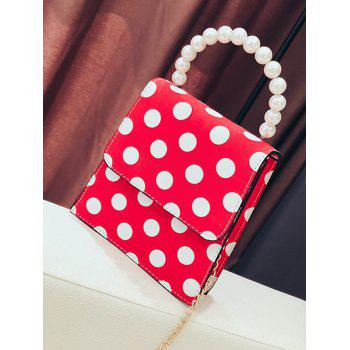 Polka Dot Retro Flap Faux Pearls Handbag with Chain Strap - FIRE ENGINE RED