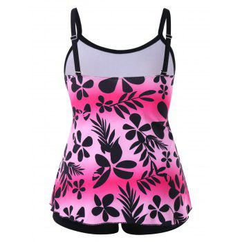 High Waist Leaf Print Plus Size Tankini Set - multicolor 2X