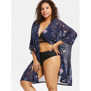 Plus Size Batwing Sleeve Sun Cover Up - BLUE 3X