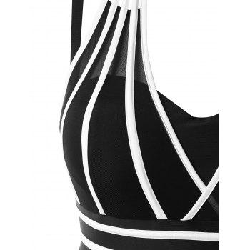 Plus Size Color Block Halter One Piece Swimwear - BLACK 4X