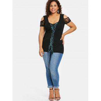 Plus Size Lace Trim Open Shoulder T-shirt - BLACK L