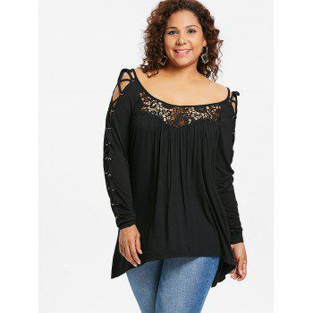 Plus Size Lace Up Lace Trim T-shirt - BLACK L