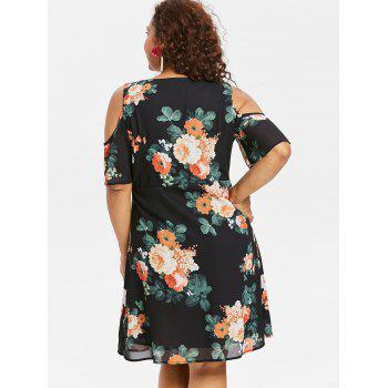 Plus Size Open Shoulder Floral Surplice Dress - BLACK 5X