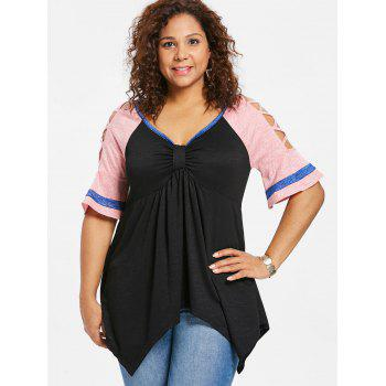 Plus Size Bow Bust Cutout Flare Sleeve T-shirt - BLACK 4X