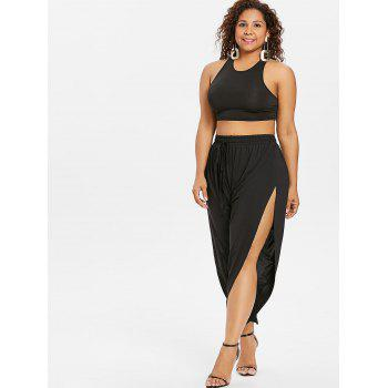 Plus Size Drawstring Side Split Pants - BLACK L