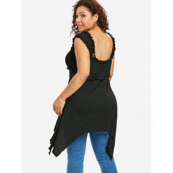 Plus Size Ruffle Asymmetric Tunic Top - BLACK 4X