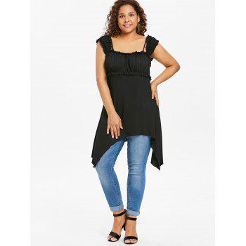 Plus Size Ruffle Asymmetric Tunic Top - BLACK 5X