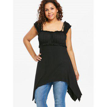 Plus Size Ruffle Asymmetric Tunic Top - BLACK 1X
