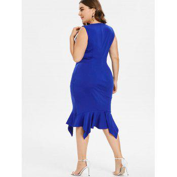 Plus Size Embroidery Ruffle Mermaid Dress - BLUE 4X
