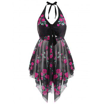 Plus Size Floral Halter Tankini Set - ROSE RED 2X
