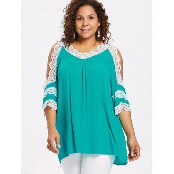 Plus Size Cutout Flare Sleeve Crinkle Blouse - MEDIUM TURQUOISE 4X