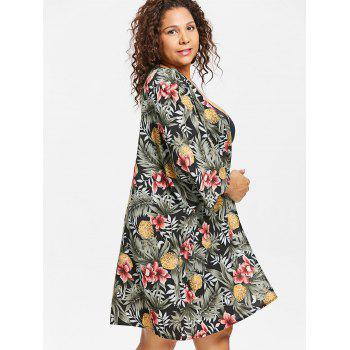 Plus Size Flower Collarless Cover Up - GREEN 1X