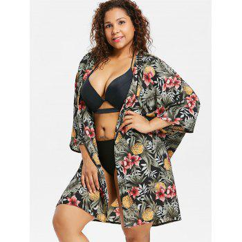 Plus Size Flower Collarless Cover Up - GREEN 2X