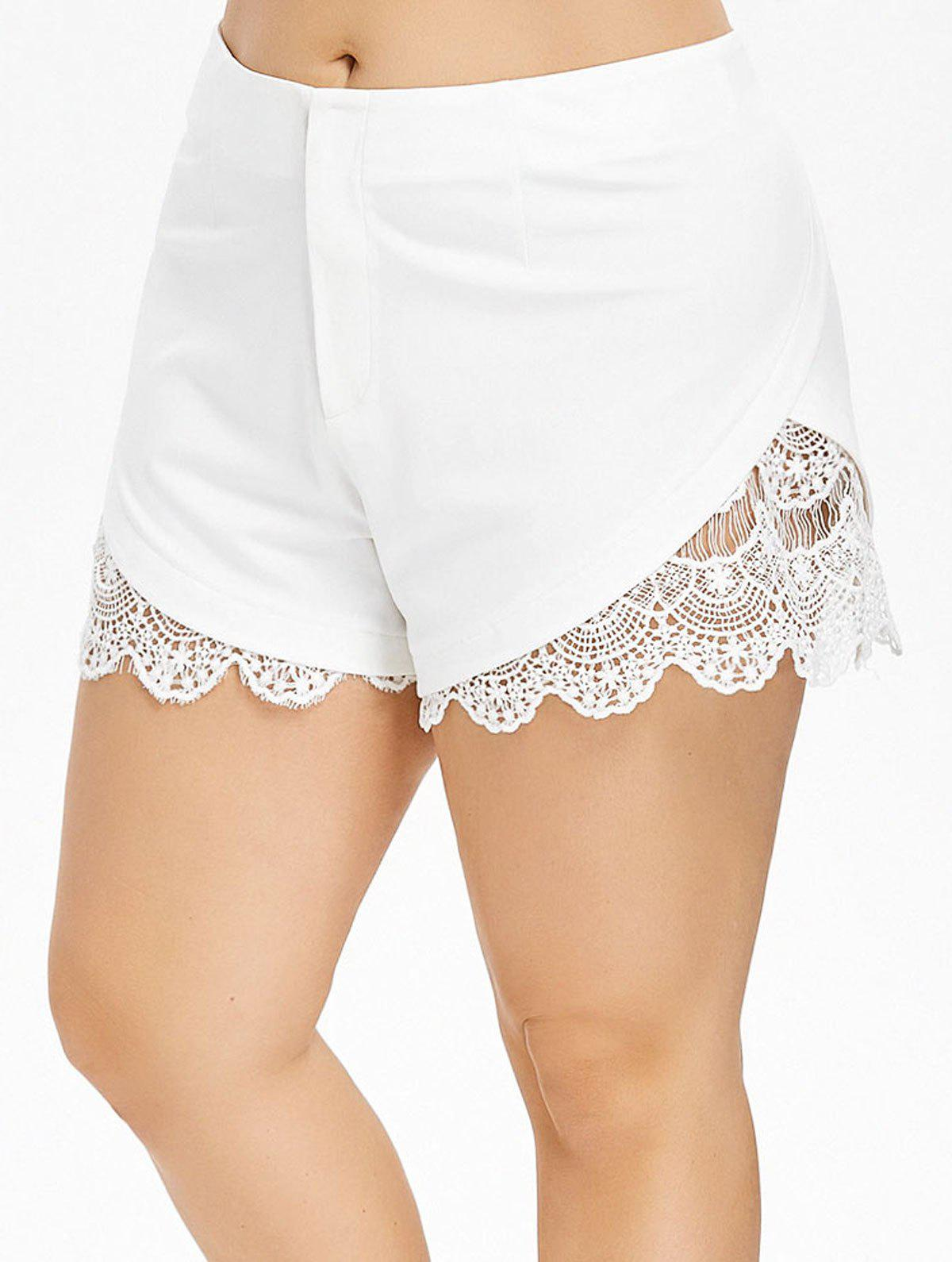 Plus Size Crochet Trim Scalloped Shorts - WHITE 1X
