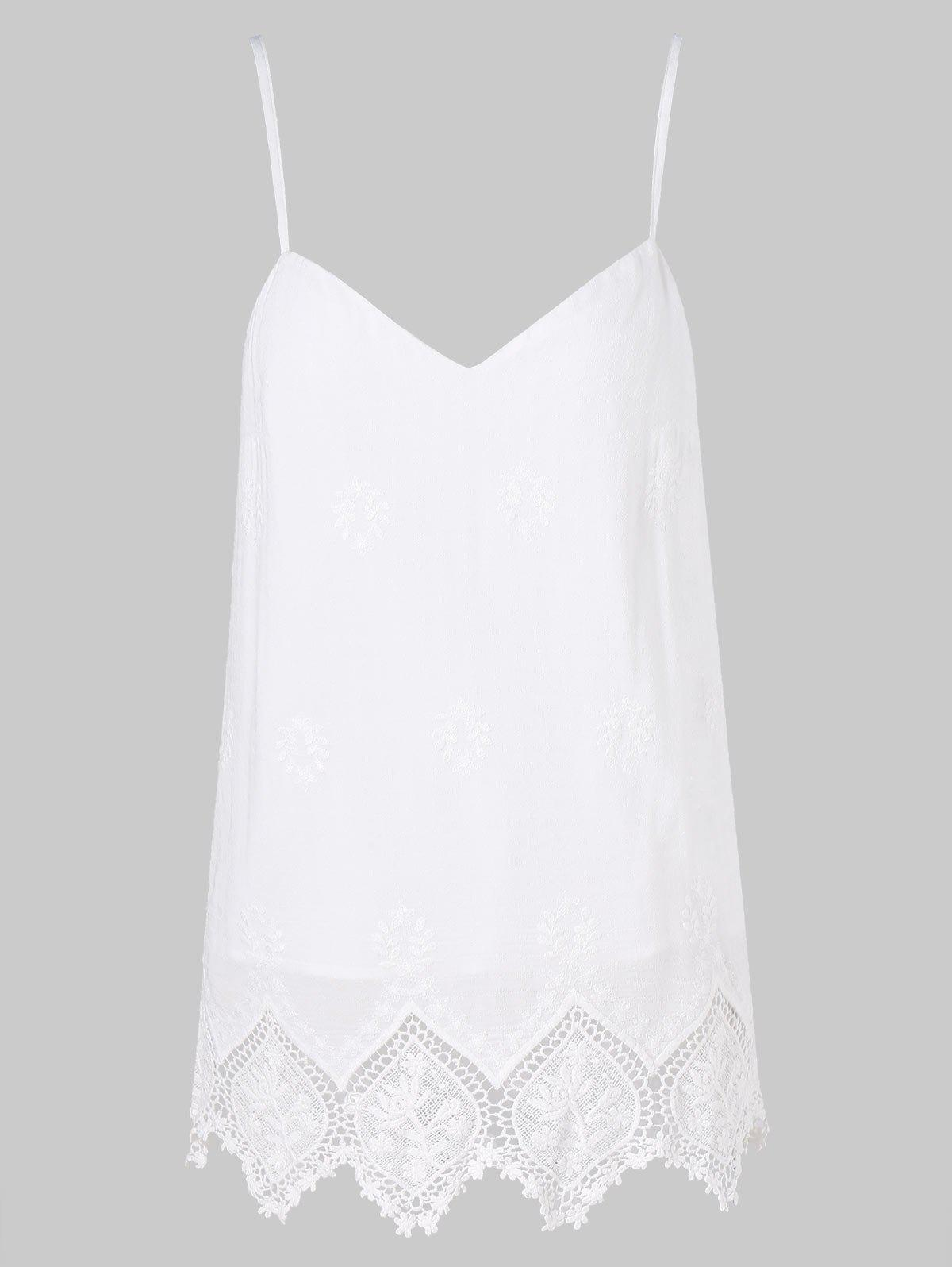 Crochet Zigzag Cut Brim Cami Strap Top - WHITE 2XL