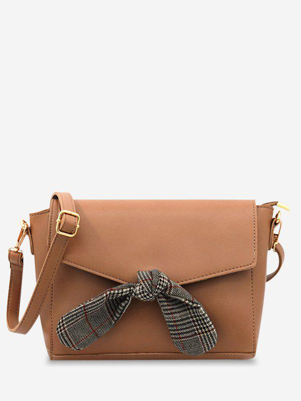 Bowknot Decoration Chic Flapped Crossbody Bag - BROWN