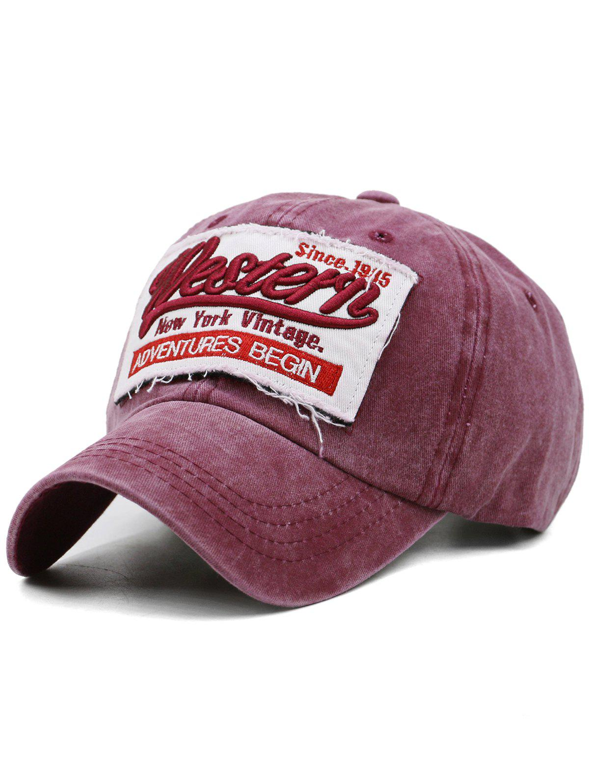 Letter Embroidery Washed Dyed Sunscreen Hat - RED WINE