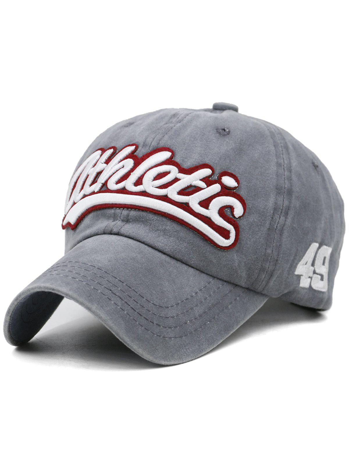 Letter Embroidered Washed Dyed Sport Hat - GRAY