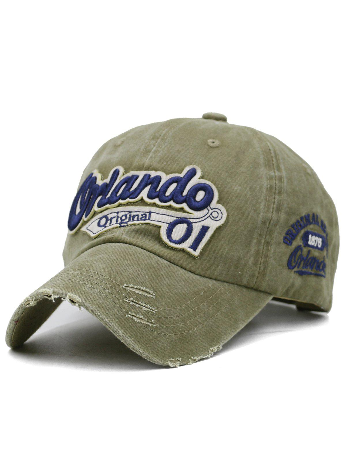 Outdoor Letter Embroidery Distressed Sport Hat - CAMOUFLAGE GREEN