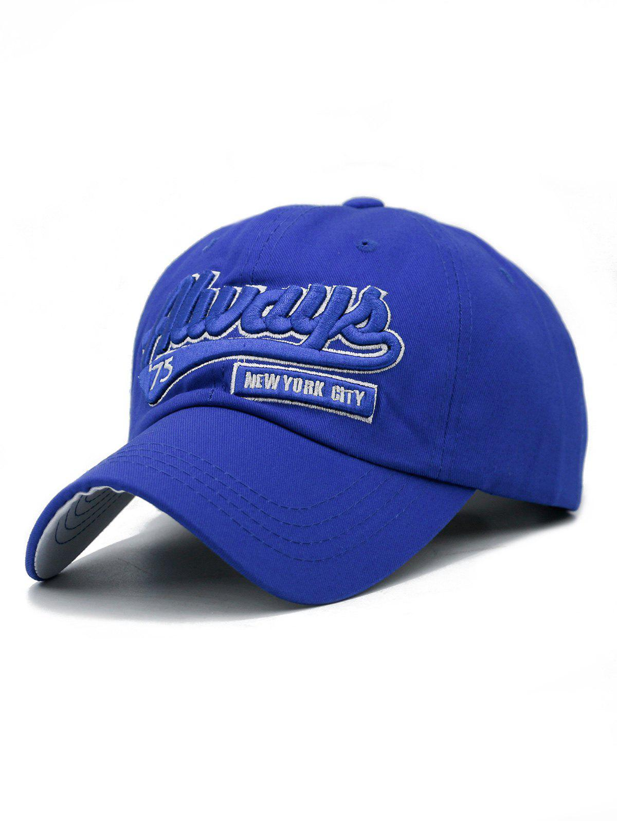 Letter Embroidery Adjustable Trucker Hat - ROYAL BLUE