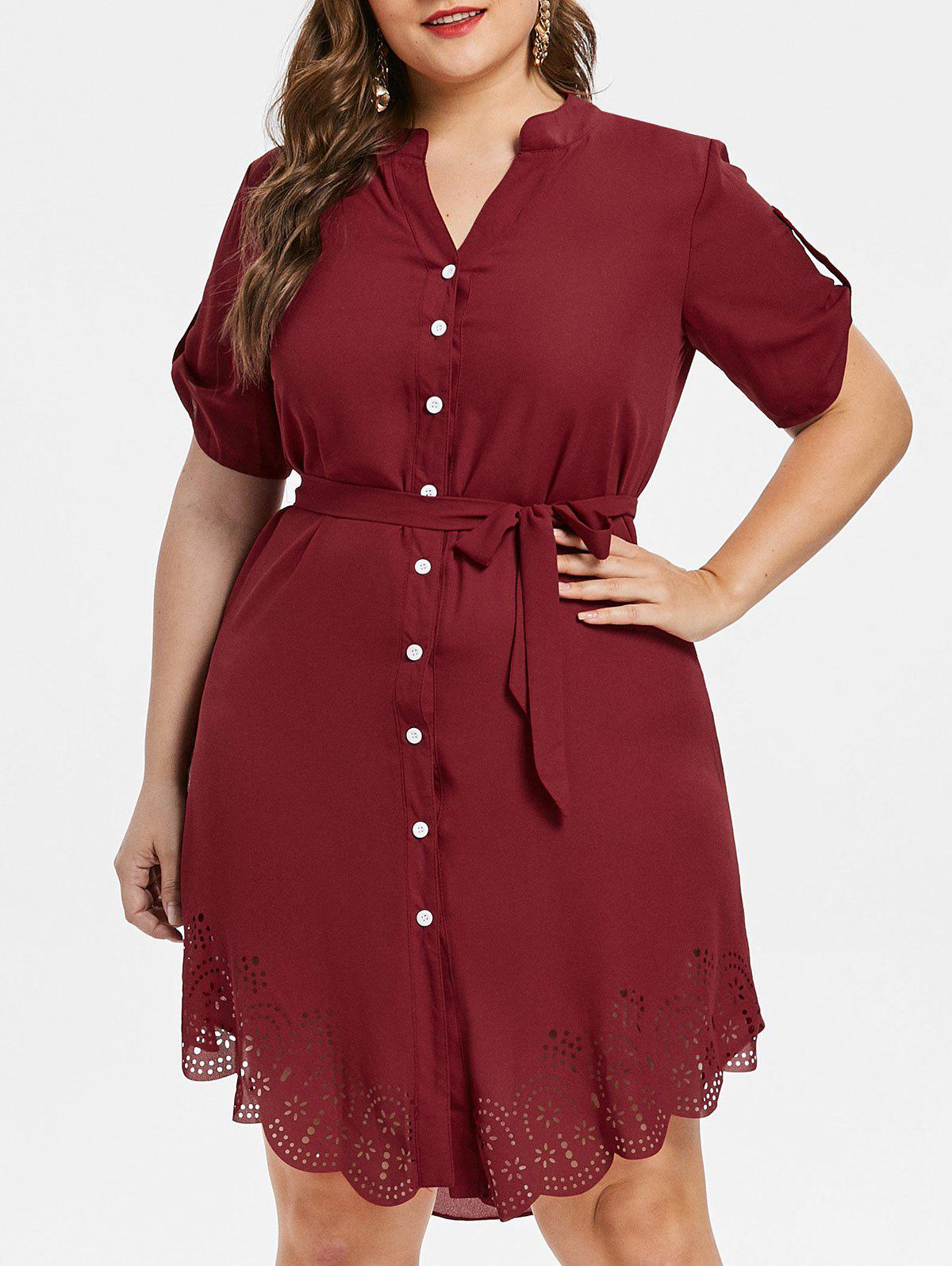 Plus Size Asymmetrical Shirt Dress - RED WINE 5X