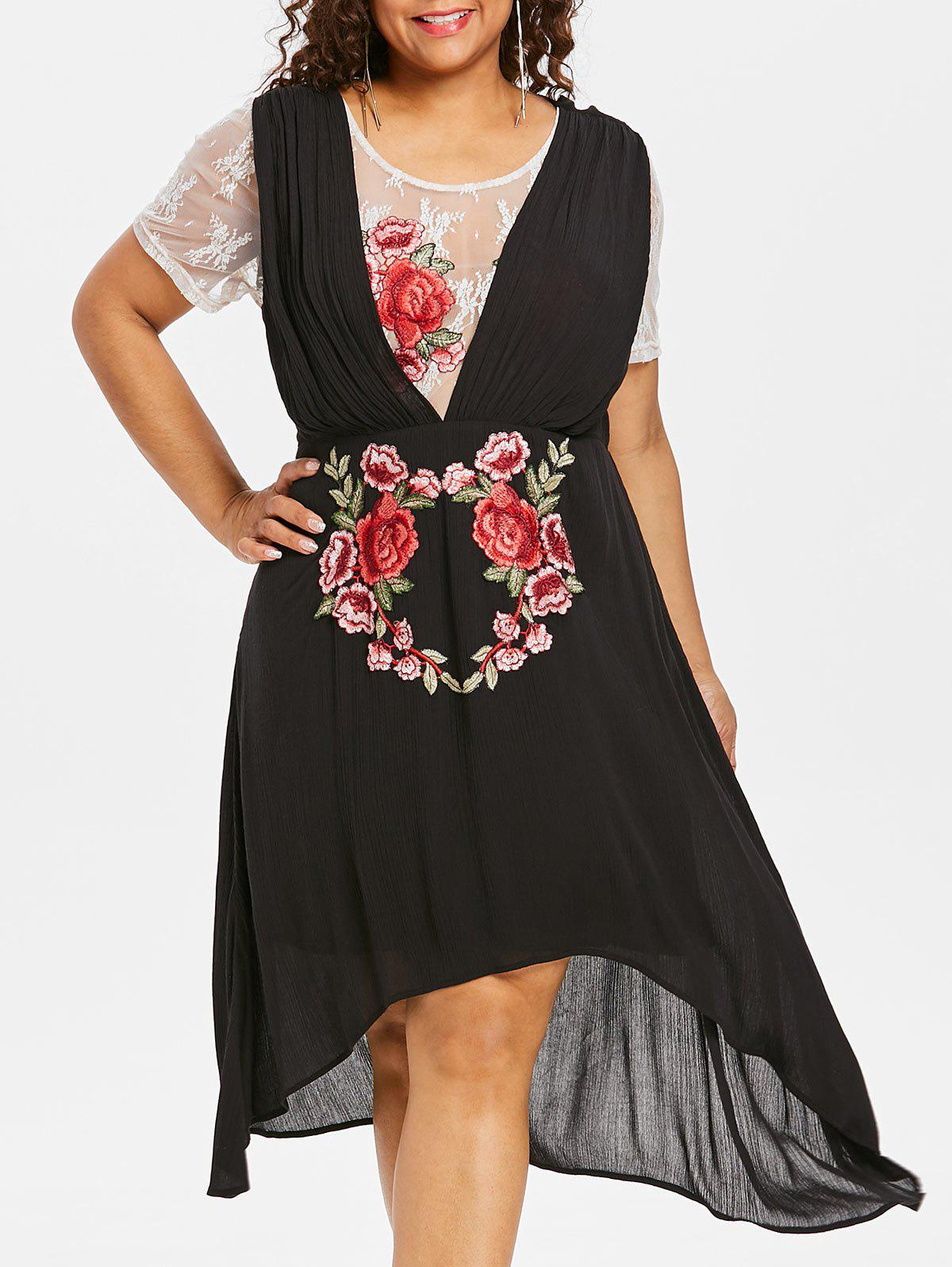 Plus Size Applique Flower High Low Dress - BLACK 2X