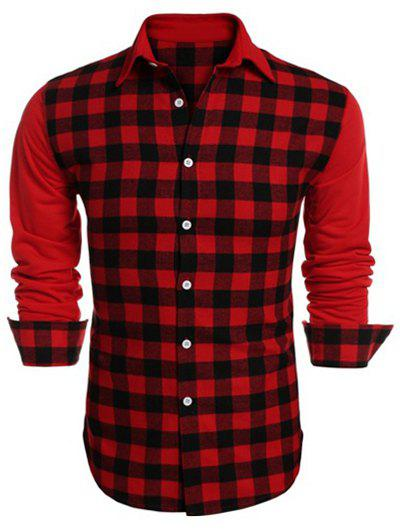 Panel Plaid Button Up Shirt - RED 2XL