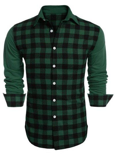 Panel Plaid Button Up Shirt - GREEN L