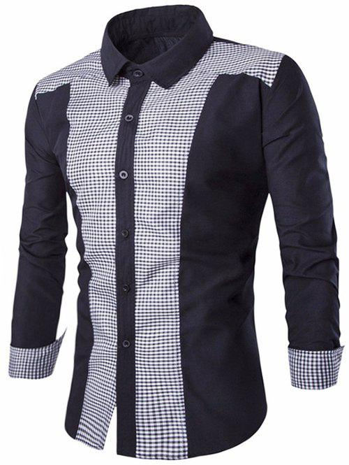 Panel Check Slim Fit Shirt - BLACK 3XL