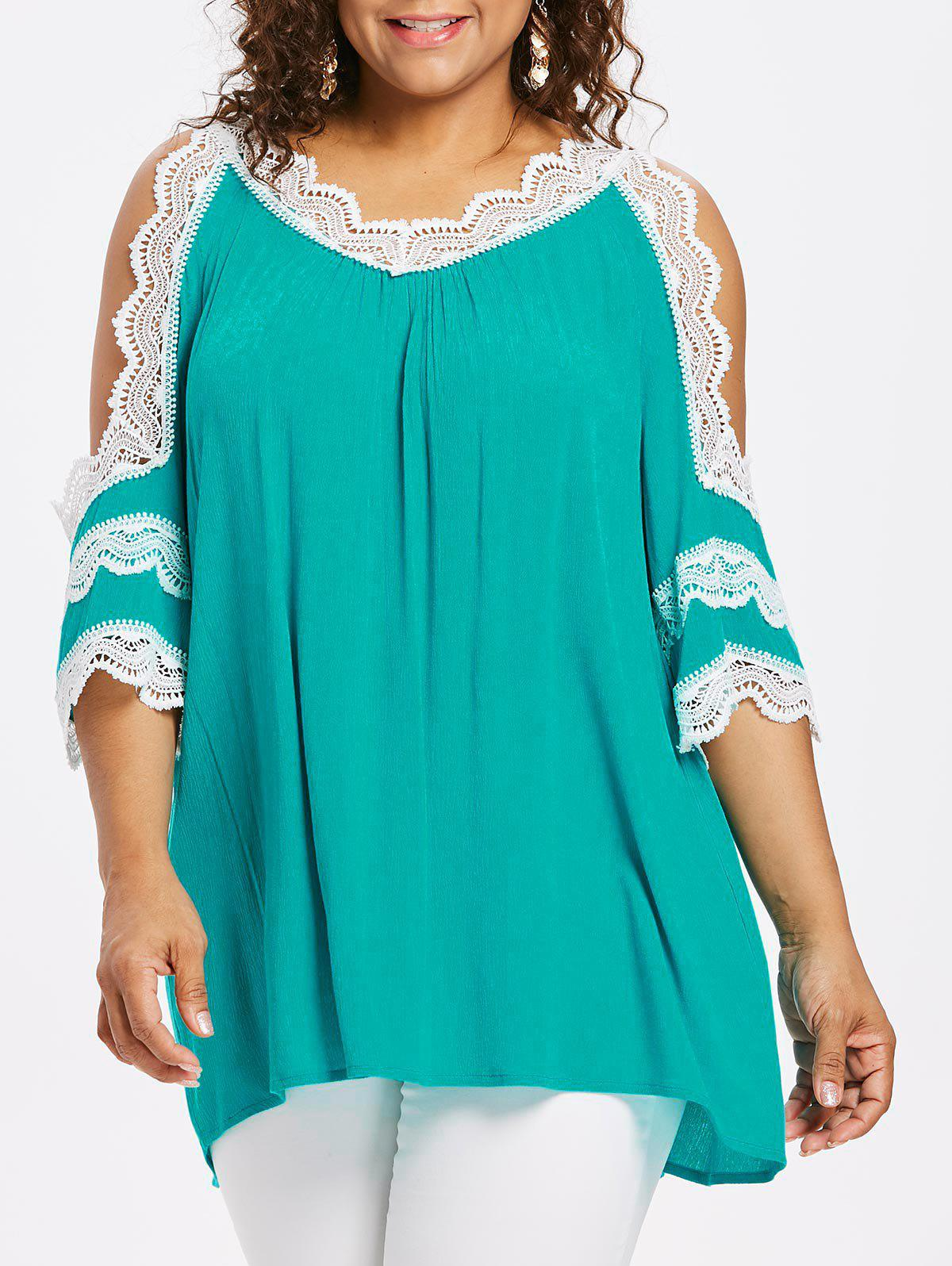 Plus Size Cutout Flare Sleeve Crinkle Blouse - MEDIUM TURQUOISE L